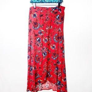 Eyeshadow | Red Floral Wrap Skirt